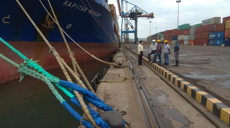 A ship anchored at Kolkata Port Trust. (DC Photo)