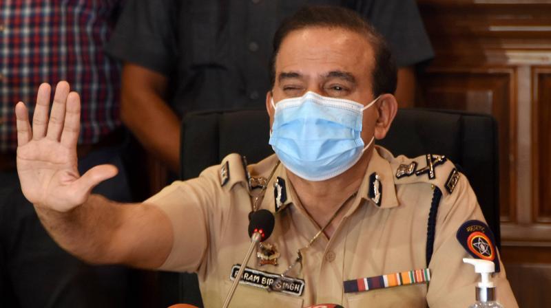 Mumbai Police Commissioner Param Bir Singh addresses media at CP office, in Mumbai. (PTI)