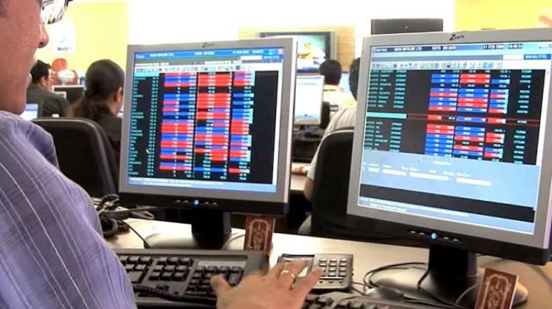 A trader during a session at BSE.