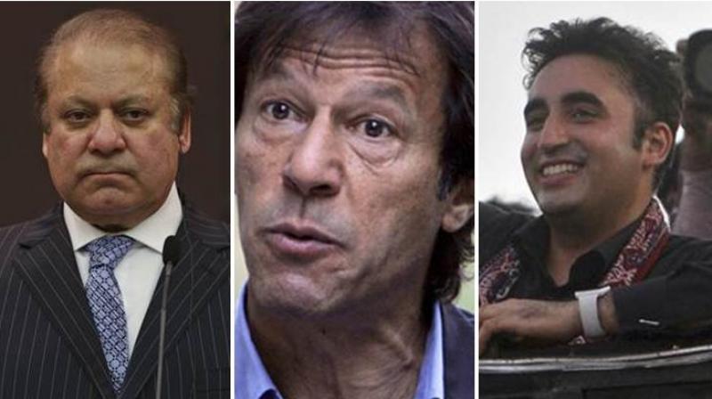(From left) Nawaz Sharif's Pakistan Muslim League-Nawaz,  Imran Khan's Pakistan Tehreek-e-Insaf, Bilawal Bhutto Zardari's Pakistan Peoples Party are major political parties in Pakistan's general election.  (Photo: PTI)