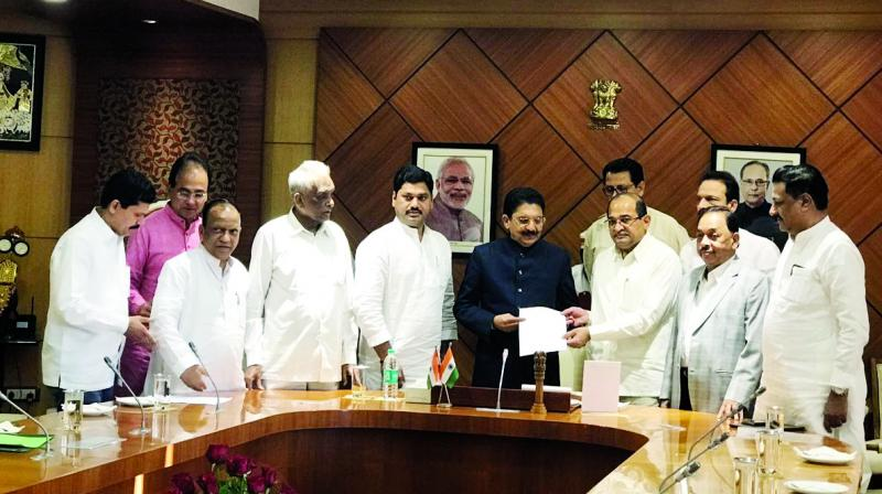 Opposition leaders met governor C Vidyasagar Rao.