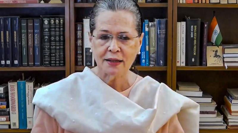 : Congress President Sonia Gandhi during a video appeal to migrants, in New Delhi. PTI Photo