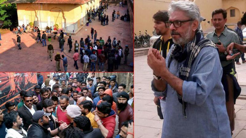 Sanjay Leela Bhansali on the sets of 'Padmaavat'.