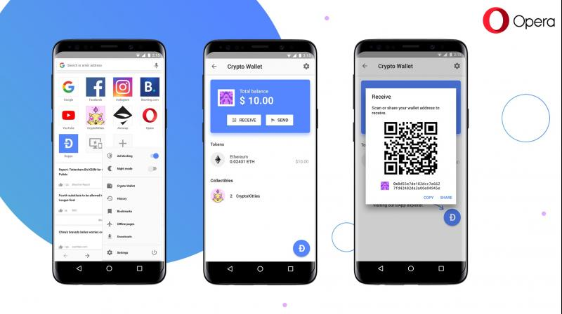 Opera with Crypto Wallet also supports tokens and digital collectibles and automatically presents them to the user.