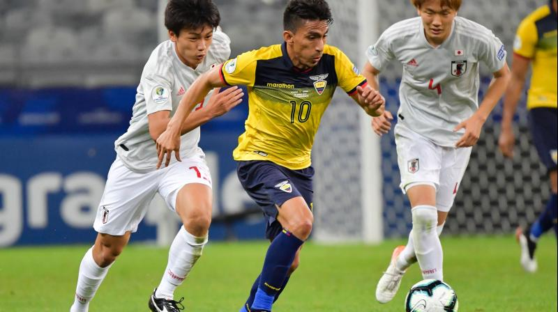 Ecuador equalised 20 minutes later when Angel Mena pounced on a parried shot to touch home from close range and the South Americans grew into the game, especially in the second half, when their long ball game troubled the young Japanese side. (Photo:AFP)