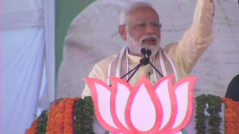 Modi's remarks at a poll rally here in Nashik district of Maharashtra came a day after a terror attack in Sri Lanka killed 290 people in a series of eight blasts that tore through churches and luxury hotels in the island country. (Photo: Twitter/ ANI)