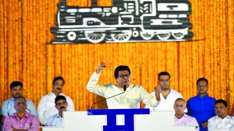 Raj Thackeray at rally in Shivaji park. (Photo: Rajesh Jadhav)