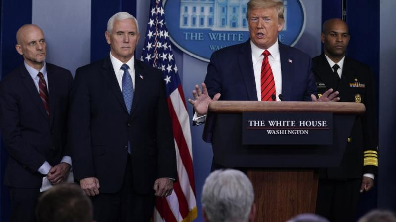 President Donald Trump speaks during press briefing with the coronavirus task force, at the White House. AP Photo