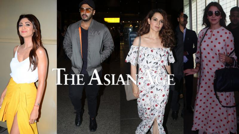 Bollywood celebrities Anushka Sharma, Arjun Kapoor, Kangana Ranaut were spotted at the Mumbai airport, also Shilpa Shetty, Sushmita Sen were clicked in the city. See exclusive photos of your favourite stars. (Pictures: Viral Bhayani)