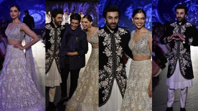 Ranbir Kapoor and Deepika Padukone walked the ramp at Mijwan Fashion Show 2018 on Thursday. Popular fashion designer Manish Malhotra created look for two Bollywood heartthrobs. See exclusive pictures here. (Photos: Viral Bhayani)