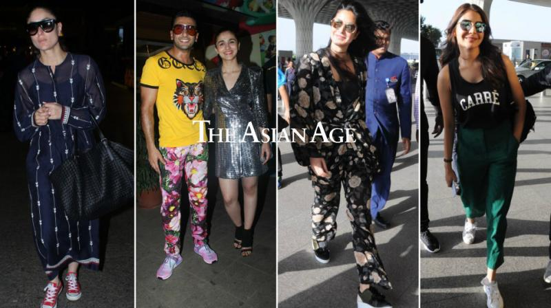 Ranveer Singh and Alia Bhatt once again gave fashion goals as they celebrated the wrap up of their film 'Gully Boy', but equally cool were Kareena Kapoor Khan, Katrina Kaif, Anushka Sharma and others at the airport.