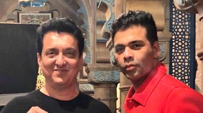 Karan Johar and Sajid Nadiadwala on the sets of 'Kalank'. (Photo: Twitter)