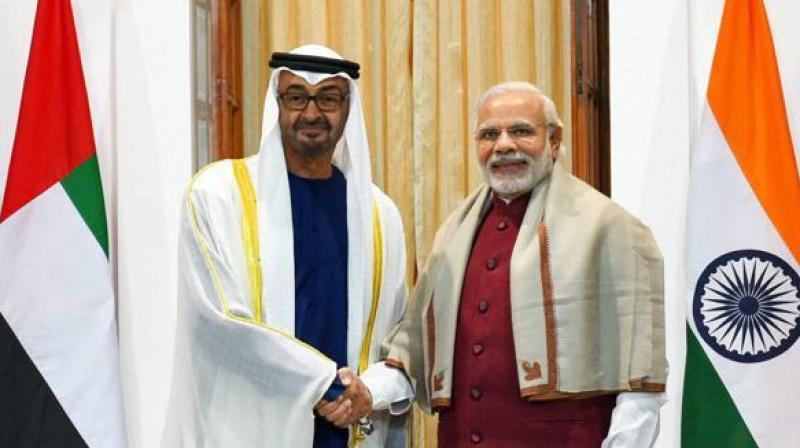 Prime Minister Narendra Modi shakes hands with Sheikh Mohammed bin Zayed Al Nahyan, Crown Prince of Abu Dhabi. (Photo: PTI/File)