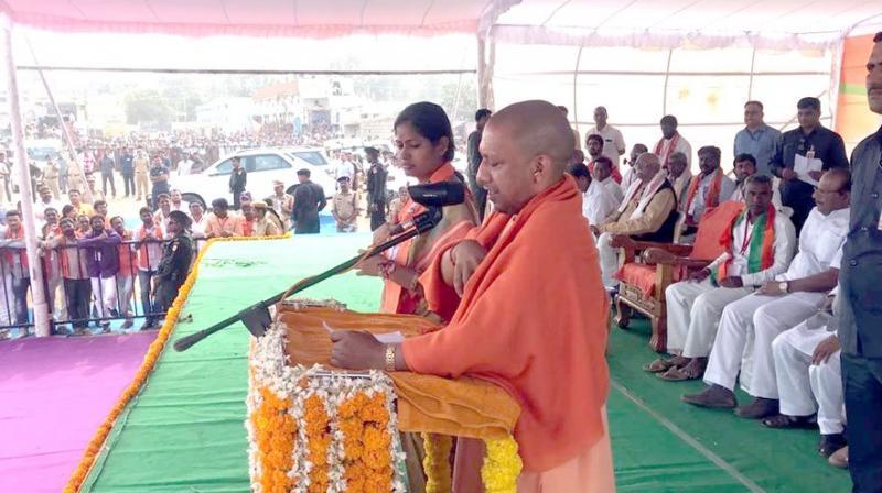 'If BJP comes to power in Telangana, then the BJP will work towards renaming Karimnagar into 'Karipuram' and respect your sentiments,' Yogi Adityanath said. (Photo: Twitter | @myogiadityanath)