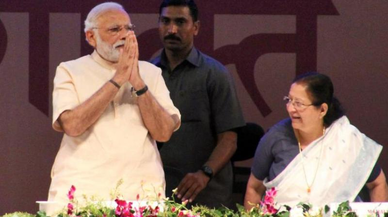Modi said, 'As the Lok Sabha speaker, 'Tai' (as Mahajan is popularly known in the constituency) has carried out her duties in a skilful and controlled way. It is because of this, she has left an indelible impression on the minds of people.' (Photo: File)