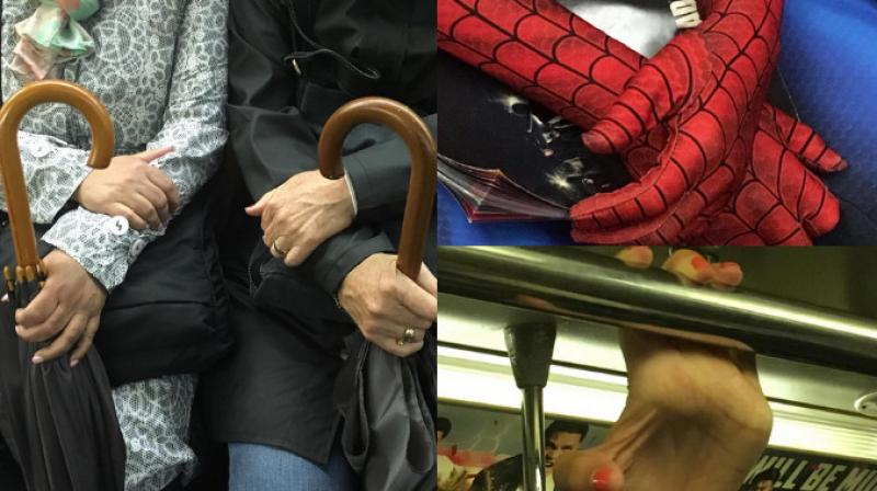 Avid photographer Hannah Ryan captures unique hands displaying emotions on her train journey from Brooklyn to Manhattan. (Photo: Instagram/@subwayhands)