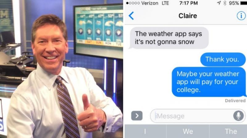 The father is a meteoroligist in Atlanta and had predicted that it would snow when his daughter sent him the text.