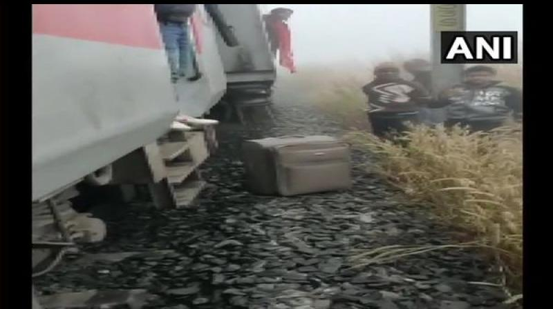 About eight coaches of the super fast express derailed after hitting a guard van of a goods train between Salagaon and Nergundi possibly due to dense fog. (Photo: ANI)