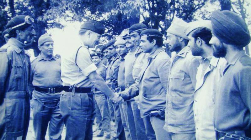 Gen. (later Field Marshal) Sam Manekshaw meeting officers of 4th Horse, Western Theatre 1971.