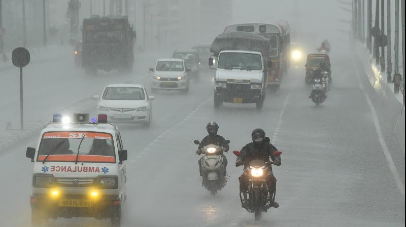 Vehicles ply on Eastern Express highway during rain in the aftermath of cyclone Nisarga, in Mumbai. PTI photo
