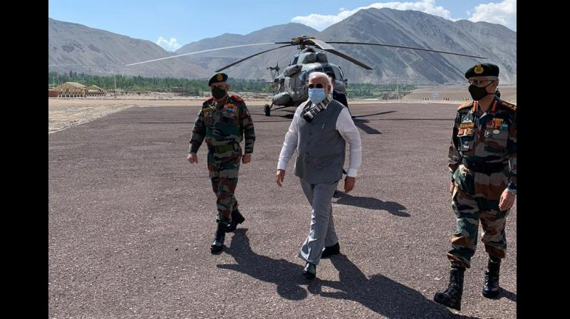 PM Modi arrives in Leh. (ANI)