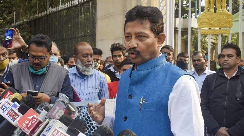 TMC MLA Rajib Banerjee talks to the media after resigning as West Bengal forest minister, outside Raj Bhawan in Kolkata on Friday. (Photo:PTI)