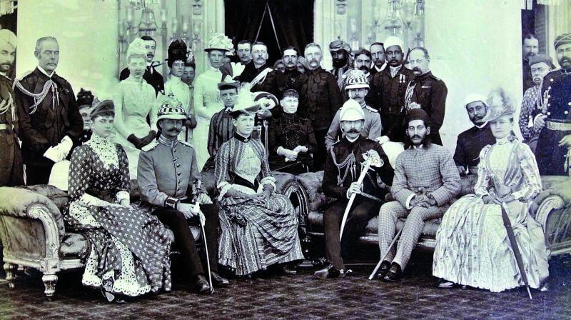 Duke and Duchess of Connaught with Nizam VI, Mahbub Ali Khan, January 1889, Silver Gelatin Print.