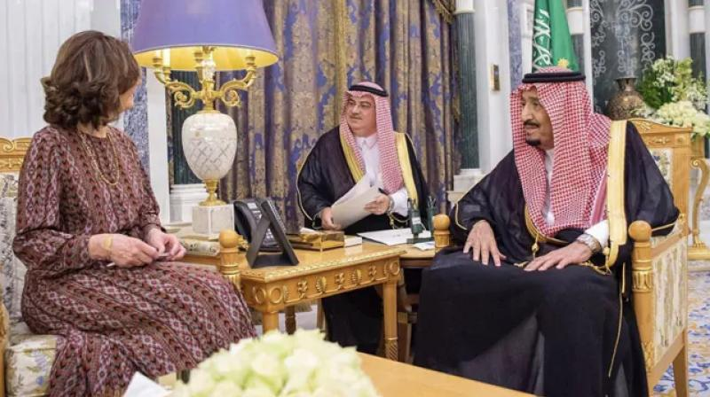 Saudi Arabia's King Salman hosted the Central Intelligence Agency's director Thursday, state media said, after three people were charged in the United States with spying on Twitter users critical of the royal family. (Photo: @SaudiEmbassyUSA)