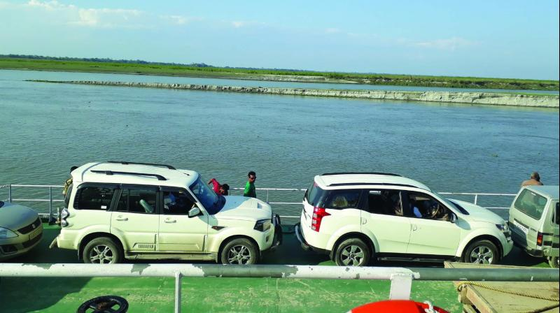 The RoRo (Roll-on-Roll off) ferry service (above) between Neematighat (in Jorhat) to Kamalabari (Majuli).