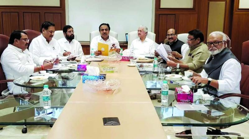 Sena, NCP and Congress party leaders during a joint meeting on Thursday. (Photo: AA)