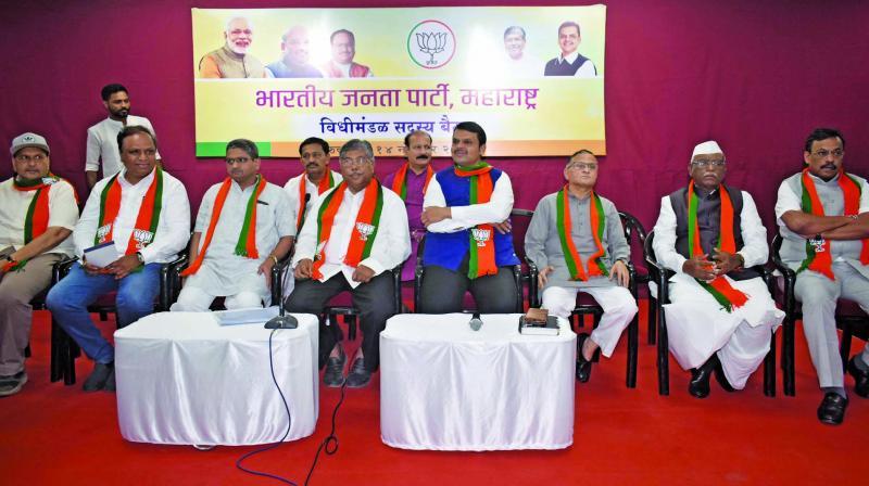 Top BJP leaders in the meeting. (Photo: Debasish Dey)