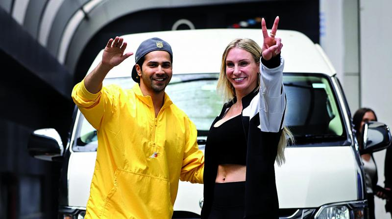 Varun Dhawan and Charlotte Flair after dance session