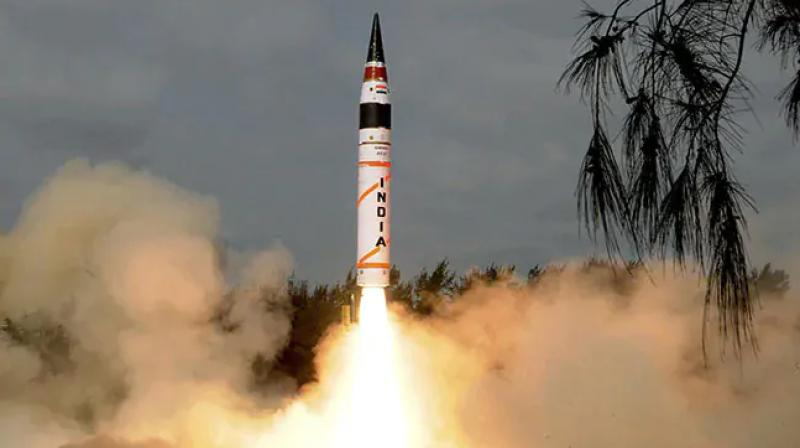 India on Saturday conducted successfully the first night trial of ''Agni-II'', its versatile surface-to-surface medium range nuclear capable missile from Dr Abdul Kalam Island off Odisha coast, defence sources said. (Photo: Twitter/ PPChaudharyMoS)