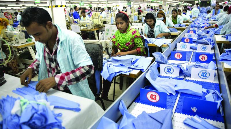 Textiles and apparels were down by 3.21 per cent and of this textile exports slid 4.15 per cent. For the seven-month period, textile exports were down 8.84 per cent. Though apparel exports were down in October, during the seven-month period it was marginally up over last year.