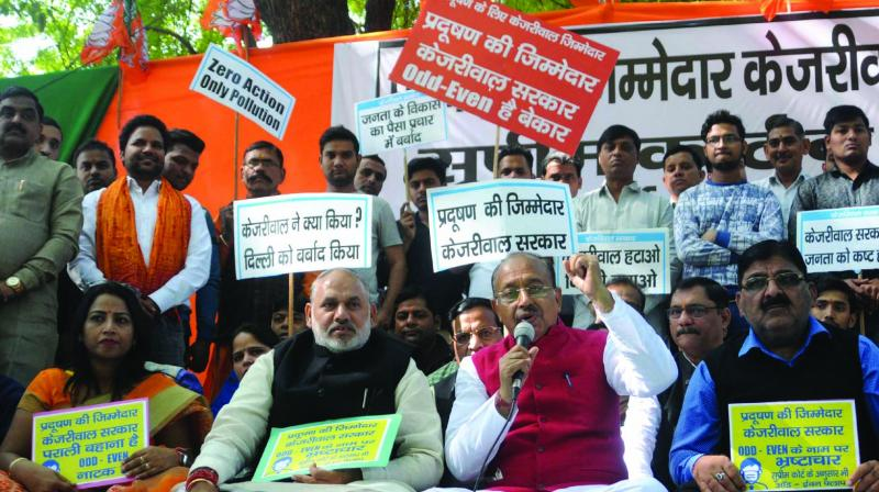BJP MP Vijay Goel with supporters during a protest at Jantar Mantar in New Delhi on Sunday. (Photo: ASIAN AGE)