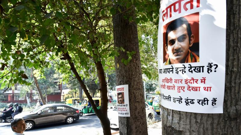 """Missing"" posters of Bharatiya Janata Party lawmaker Gautam Gambhir, who drew criticism for skipping a crucial meeting two days ago on pollution, purportedly surfaced across Delhi on Sunday."