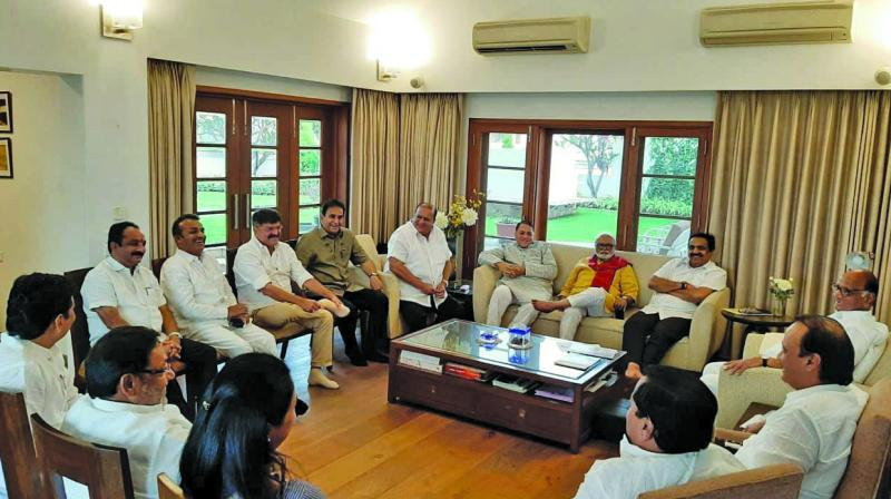 Top NCP leaders meet at Sharad Pawar's residence in Pune. (Photo: ASIAN AGE)