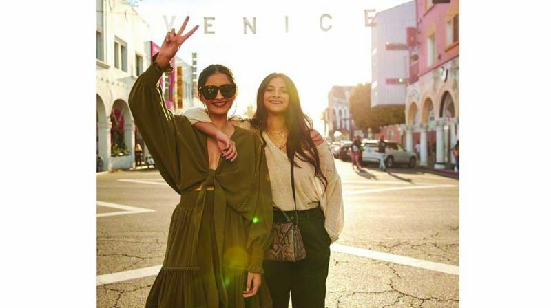 Sonam and Rhea Kapoor have kicked off a girl's trip to Los Angeles, and are busy taking in all the sights and sounds of the city.