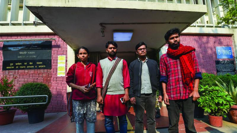 JNUSU president Aishe Ghosh with other student-leaders after meeting with HRD ministry officials at Shastri Bhawan in New Delhi. (Photo: PTI)