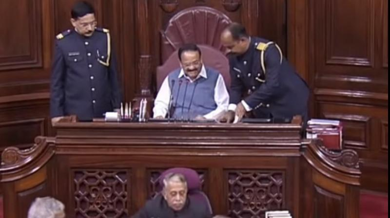 Rajya Sabha marshals on Thursday were seen without their military-style caps as part of the ongoing review of their new uniforms which had invited criticism from some ex-Army officers and opposition leaders. (Photo: screengrab/ Rajyasabha TV)