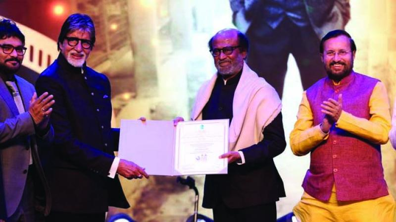 Cinematic legend Rajinikanth was given the 'Icon of Golden Jubilee Award' at this year's International Film Festival of India for his contribution to the Indian cinema.