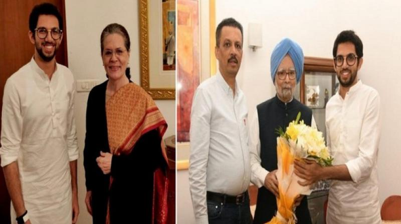 Shiv Sena leader Aaditya Thackeray separately met Congress president Sonia Gandhi and former prime minister Manmohan Singh on Wednesday night and invited them for his father Uddhav Thackeray's swearing-in as the Maharashtra chief minister on Thursday. (Photo: ANI)