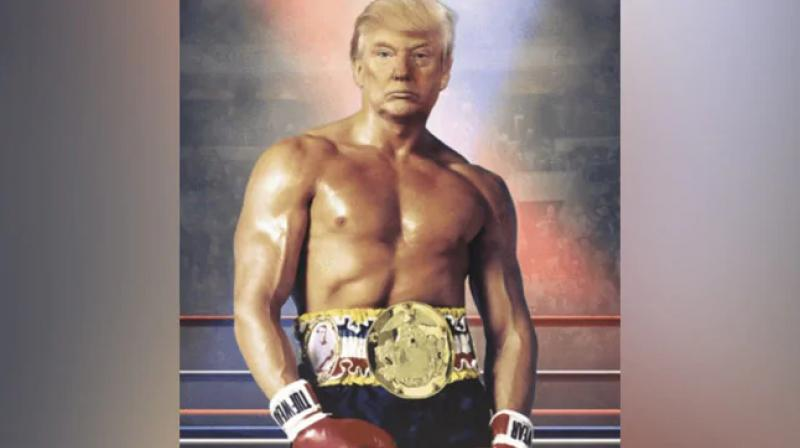 Days after causing alarm with an unscheduled trip to the hospital, President Donald Trump tweeted a photo-shopped image of himself Wednesday as a rippling, bare-chested boxer. (Photo: Twitter/ Donald Trump)
