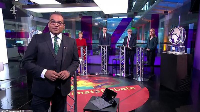 Britain's governing Conservative Party complained to the broadcasting regulator after its chosen representative was shut out of a general election television debate on climate change on Thursday. (Photo: Channel 4)