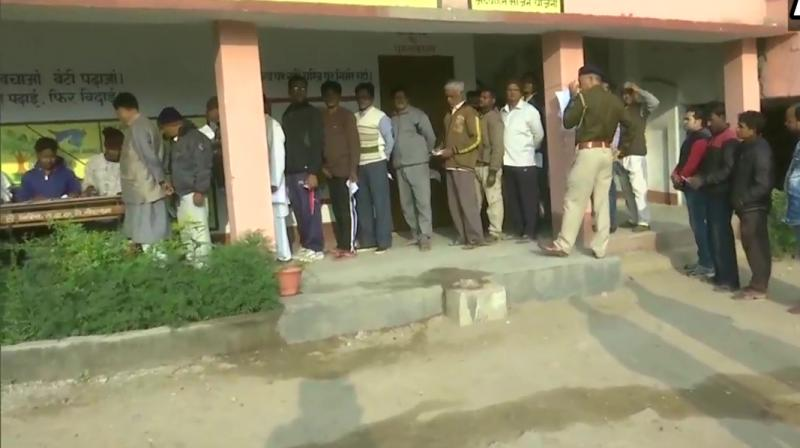 The first of the five-phase polling began in 13 assembly constituencies in Jharkhand on Saturday. (Photo: Twitter/ ANI)