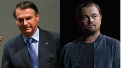Image result for images of Brazil's President Jair Bolsonaro Blames American Actor Leonardo DiCaprio For Amazon Fires Incident