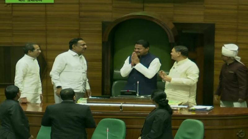 A day after Uddhav Thackeray-led Shiv Sena-NCP-Congress government sailed through the floor test amid protest by BJP, led by Devendra Fadnavis, the Maharashtra Assembly will vote at 11 am to elect its speaker on Sunday. (Photo: Twitter/ ANI)