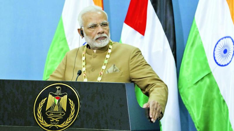 Prime Minister Narendra Modi addresses the media after his meet with Palestine President Mahmud Abbas in the West Bank city of Ramallah. (Photo: AFP)