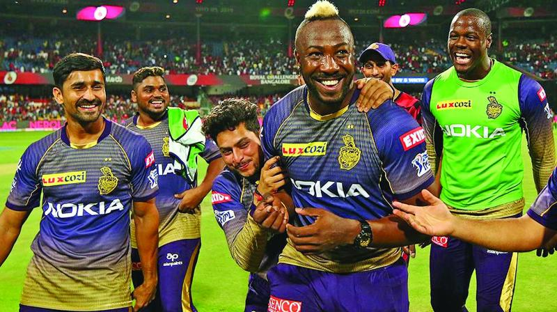 Andre Russell (right) is the toast of Kolkata after his match-winning knock on Friday. (Photo: BCCI)