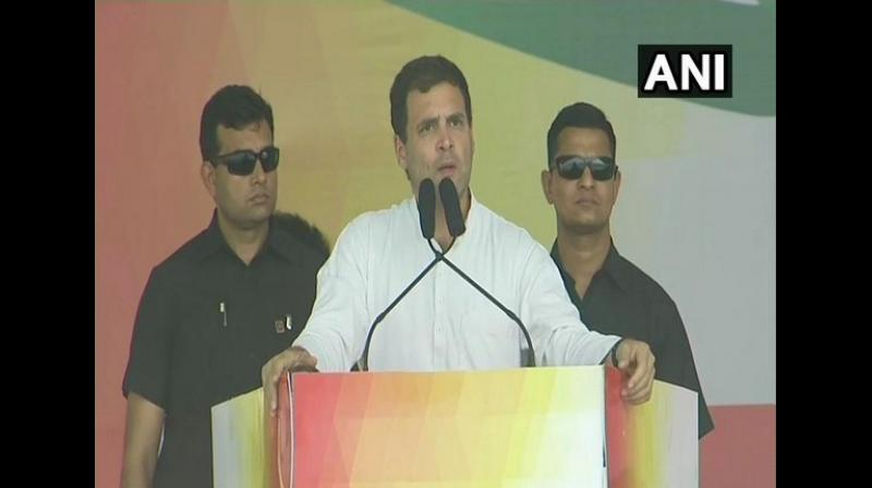 Congress president Rahul Gandhi on Friday slammed Odisha Chief Minister Naveen Patnaik and Prime Minister Narendra Modi for 'failing' to provide jobs for the youth in the state. (Photo: Twitter/ANI)